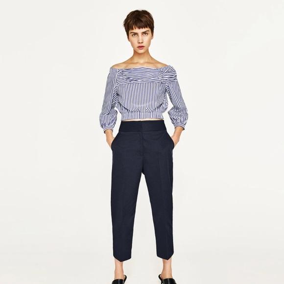 52e5e17f15e9d7 Zara Off Shoulder Striped Top
